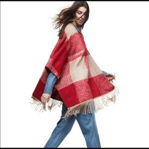 Adam Lippes For Target red tan pullover poncho